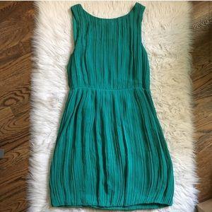 Theory Giorgina georgette emerald green silk dress